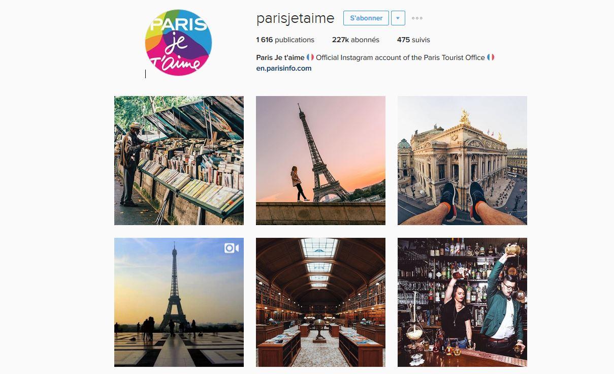 Le compte Instagram Paris Je T'aime créé par l'Office de Tourisme de la capitale