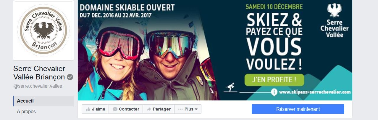 La page Facebook de l'Office de Tourisme de Serre Chevalier