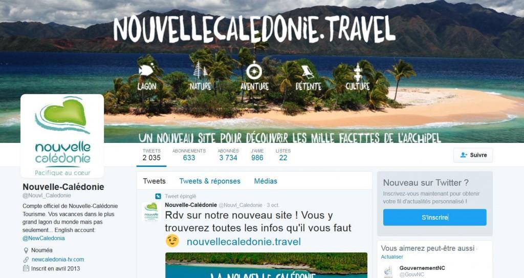 La page Twitter de l'Office de Tourisme de la Nouvelle Calédonie