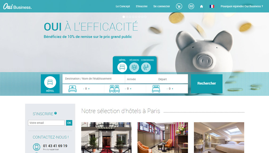 Oui business une plateforme multiservices d di e aux for Plateforme reservation hotel